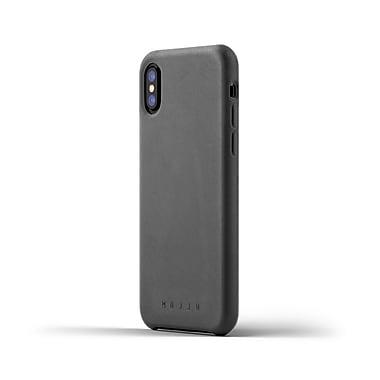 Mujjo - Etui tout cuir pour iPhone X, gris
