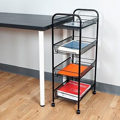 Mind Reader 'Roll' Rolling Metal Mesh 4 Shelf Cart, Black (4TOCART-BLK)