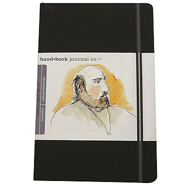 Global Art Materials - Journal d'artiste Hand Book Journal Co. 8,25 x 5,5 po, grand portrait, noir ivoire (721411)