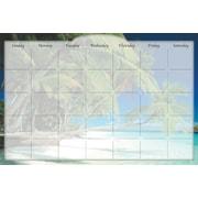 Biggies - Calendrier mensuel autocollant et effaçable à sec, plage des îles (DC-BHI-36)
