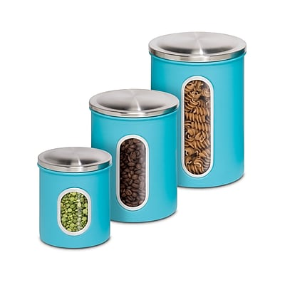 Honey Can Do Nested Kitchen Storage Canisters, Three Pieces, Blue (KCH-01312)