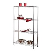"Honey Can Do 4-Tier Commercial Grade Adjustable Storage Shelves, Steel, 36"" W, Chrome (SHF-01456)"