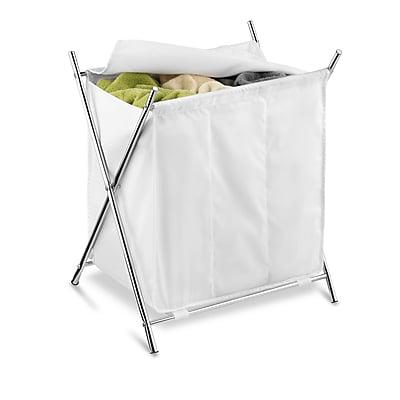 Honey Can Do Folding Triple Laundry Sorter, White/Chrome (HMP-01236)