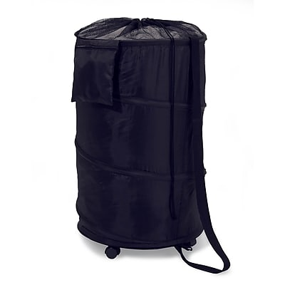 Honey Can Do Pop-Up Laundry Bin and Hamper with Wheels, Black (HMP-01454)