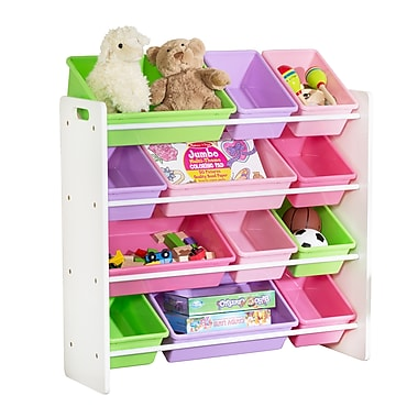 Honey Can Do Kids Toy Room Storage Organizer with Totes, White/Pastel (SRT-01603)