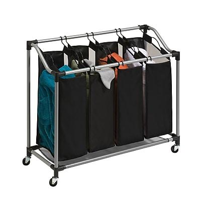 Honey Can Do Quad Laundry Sorter with Mesh Bags, Steel/Black (SRT-01682)