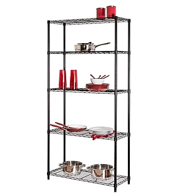 Honey Can Do 5-Tier Adjustable Storage Shelving Unit, Black (SHF-01442)