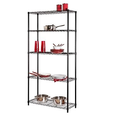 //.staples-3p.com/s7/is/  sc 1 st  Staples & Honey Can Do 5-Shelf Metal Shelving Storage Unit Black | Staples