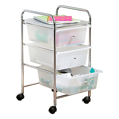 Honey Can Do3 Drawer Plastic Storage Cart On Wheels Crt 02215