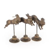 3 Brown Jumping Rabbit 3-Piece Set With Base (6821-AM6058-S3)