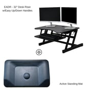 Rocelco Easy-Lift Adjustable Height Sit Stand Desk Riser with Active Standing Mat, Black (EADRASMB)