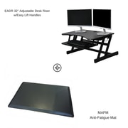 Rocelco EADR+MAFM Easy Lift Adjustable-Height Sit & Stand Desk Riser with Medium Anti-Fatigue Standing Mat, Black (EADRMAFM)
