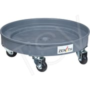 "Zenith Safety Leak Containment Drum Dollie, 24.25"" dia. x 6.25"" H, 3"" Poly, 1000 lbs, Grey"