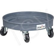 "Zenith Safety Leak Containment Drum Dollie, 24.25"" dia. x 7.25"" H, 4"" Poly, 1000 lbs, Grey"