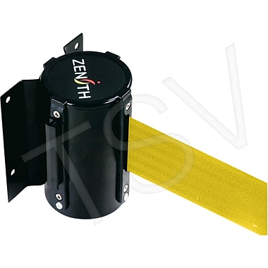 Zenith Safety Crowd Control Wall Mount Barrier, Steel, Black/Yellow,