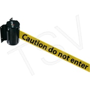 "Zenith Safety Crowd Control Wall Mount Barrier, Steel, Black/Yellow ""Caution Do Not Enter"""