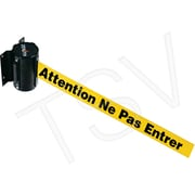 Zenith Safety Wall Mount Barrier, Steel, Black, Yellow, 7'