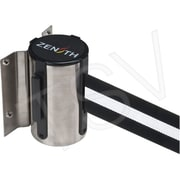 Zenith Safety Wall Mount Barrier, Stainless Steel, Tape Colour: Black/White, 7'