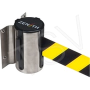 Zenith Safety Wall Mount Barrier, Stainless Steel, Tape Colour: Black/Yellow, 7'