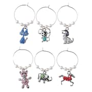 Star Fashion Bling Wine Charms, Elephant/Cie, 6/Pack (WC-1001)