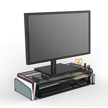 Alba - Support pour écran d?ordinateur avec tiroir, mailles en acier noir (MESHUP N)