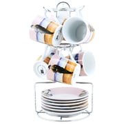 Tannex Set of 6 Espresso Cups and Saucers with Stand, 3oz, Artist Series