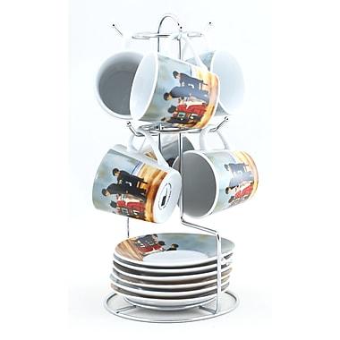 Tannex - Ensemble de 6 tasses à expresso avec soucoupes et support, 3 oz, collection Artiste, salle à manger