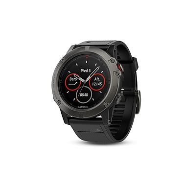 Garmin – Montre GPS Fenix® 5X saphir gris ardoise avec bracelet noir (010-01733-05)