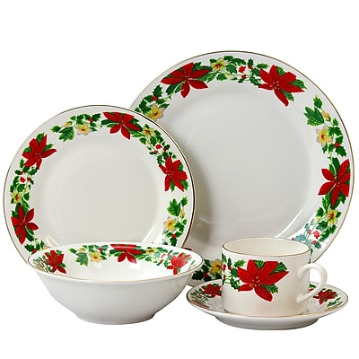 Gibson Home Poinsettia Holiday 20-Piece Ceramic Dinnerware Set White/Red/Green 94706.20 24272364