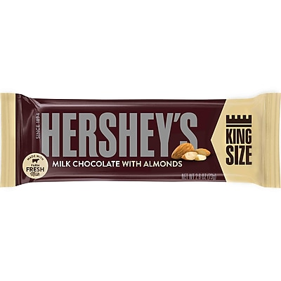 Hershey's Milk Chocolate Bars with Almonds King Size, 2.6 oz., 18/Box
