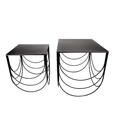 CTG Scallop Nesting Side Table, Black (66434)