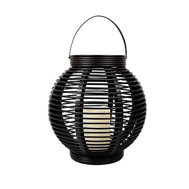 CTG Plastic Rattan Lantern, Black (66370)
