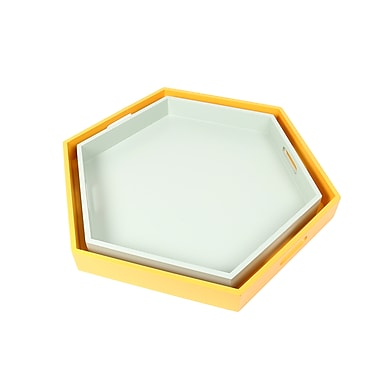 CTG Wooden Hexagon Tray, White, Yellow, 2/Pack (48756DF)