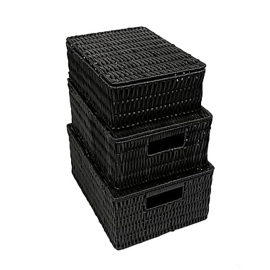 CTG Black Storage Boxes, Black, 3/Pack (52216DF)