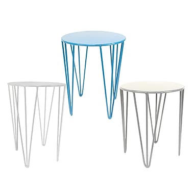 CTG Geo Iron Tables, Blue, Grey and White, 3/Pack (55758DF)