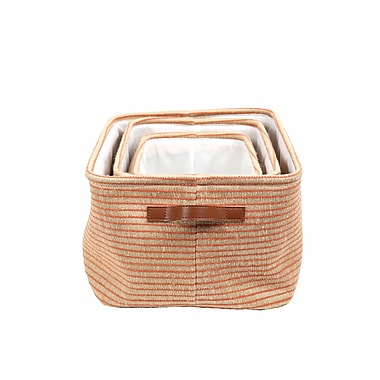 CTG Boho Storage Basket, Orange/Neutral, 3/Pack (66547DF)