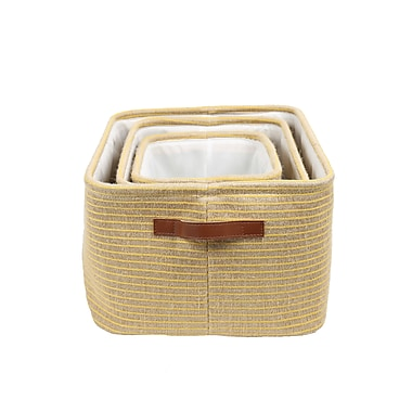 CTG Boho Storage Basket, Yellow/Neutral, 3/Pack (66548DF)