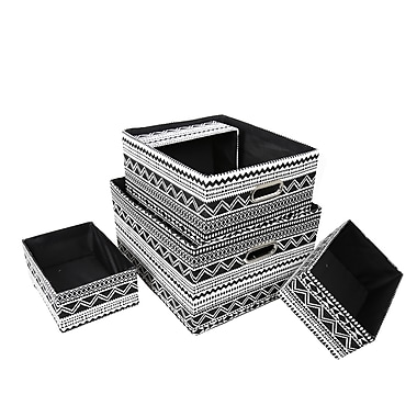 CTG Zig Zag Storage Baskets, Black, White (66856DF)