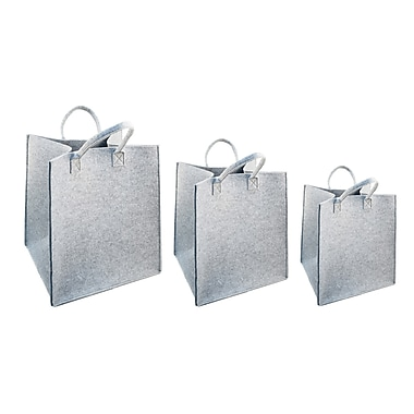 CTG Felted Storage Tote Baskets, Light Grey, 3/Pack (66880DF)