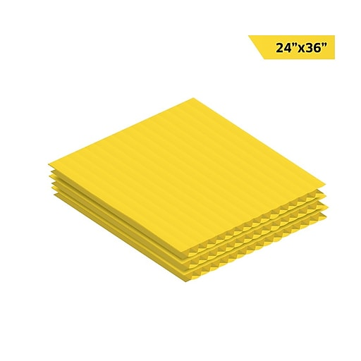 """Adiroffice Yellow Corrugated Plastic Sheets Sign Blanks Short-Flute 0.15"""" Thick 24"""" X 36"""" 12 Pack (CS2436-12-Y)"""