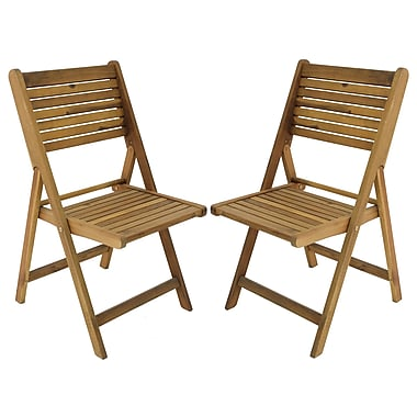 Cathay Importers Acacia Wood Folding Patio Side Chair, Natural, 2/Pack (EC-20-0030)