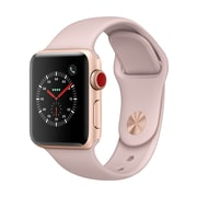 Apple Watch Series 3, 42mm, GPS + Cellular, Gold Aluminium Case with Pink Sand Sport Band, (MQK32CL/A)