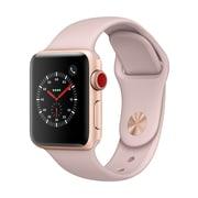 Apple – Montre Apple Watch Series 3, 42 mm, GPS + cellulaire, boîtier alum. or, bracelet sport sable rose (MQK32CL/A)