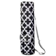 Zodaca Lightweight Durable Full-Zip Yoga Mat Gym Sports Bag with Pocket & Adjustable Shoulder Strap - Black Quatrefoil