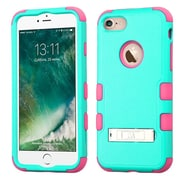 Insten Hard Dual Layer Rubberized Silicone Case w/stand For Apple iPhone 7 - Teal/Pink