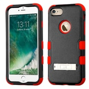 Insten Hard Dual Layer Rubberized Silicone Hybrid Case with stand For Apple iPhone 7 - Black/Red