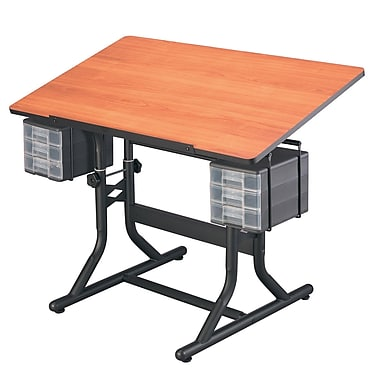 Alvin Art Drawing And Hobby Table Black Base With Cherry Woodgrain Top