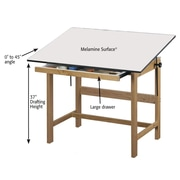 "Alvin® Solid Oak Drafting Table Natural Finish 31"" X 42"" X 37"" (WTB42)"