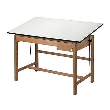 Alvin® Solid Oak White Top Drafting Table 2 Drawers 37 1/2