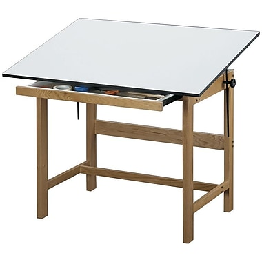 Alvin® Solid Oak Drafting Table Natural Finish 36